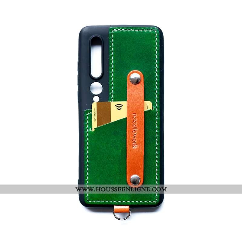 Coque Xiaomi Mi 10 Cuir Vert Téléphone Portable Étui Border Petit Verte