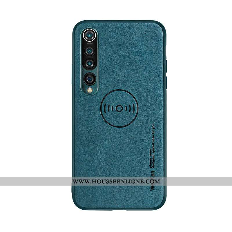 Coque Xiaomi Mi 10 Fluide Doux Protection Métal Tout Compris Magnétisme Étui Bleu