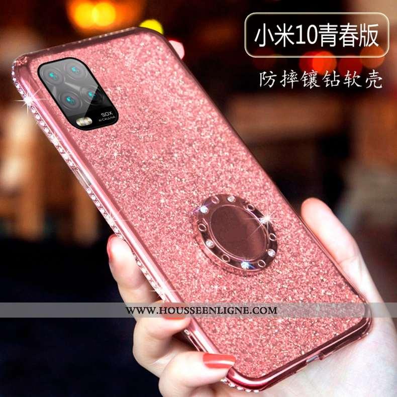 Coque Xiaomi Mi 10 Lite Protection Créatif Légère Étui Silicone Ultra Tendance Rose