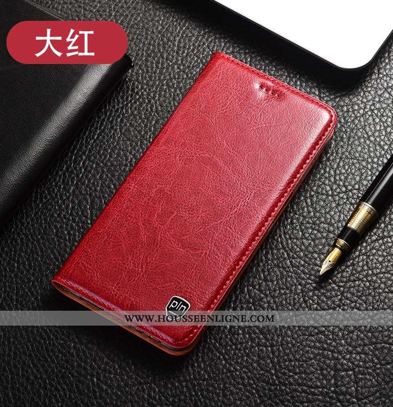 Coque Xiaomi Mi 10 Lite Protection Cuir Véritable Modèle Fleurie Téléphone Portable Rouge Housse