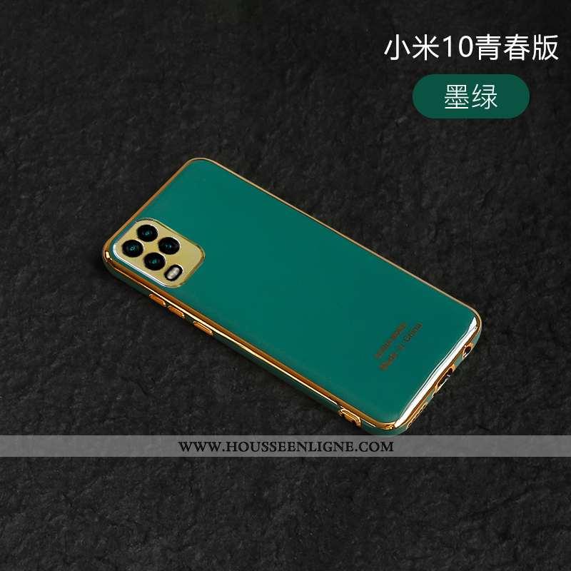 Coque Xiaomi Mi 10 Lite Silicone Personnalité Vert Placage Tout Compris Net Rouge Nouveau Turquoise