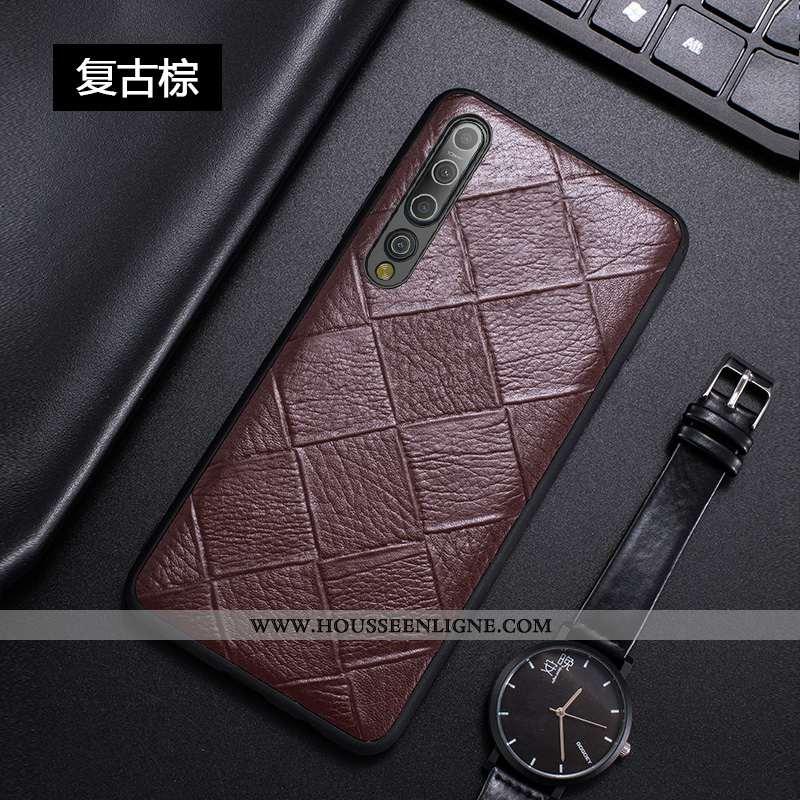 Coque Xiaomi Mi 10 Luxe Personnalité Légère Cuir Véritable Créatif Incassable Ultra Marron