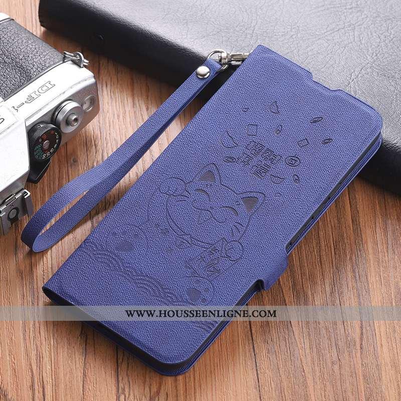 Coque Xiaomi Mi 10 Pro Créatif Cuir Clamshell Petit Fluide Doux Téléphone Portable Bleu