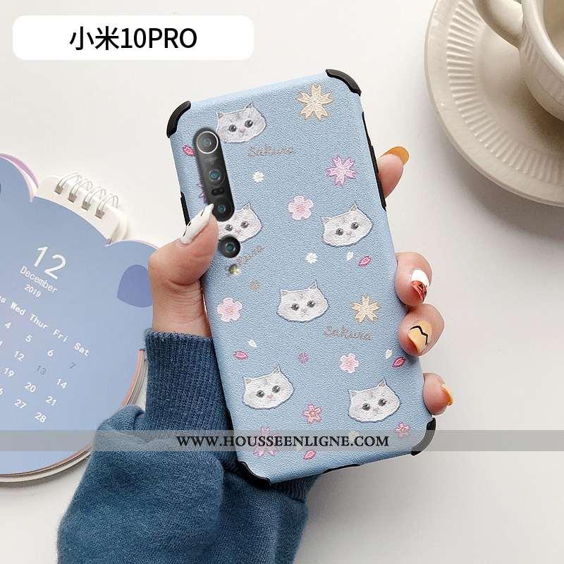 Coque Xiaomi Mi 10 Pro Cuir Modèle Fleurie Tout Compris Net Rouge Mode Charmant Frais Bleu