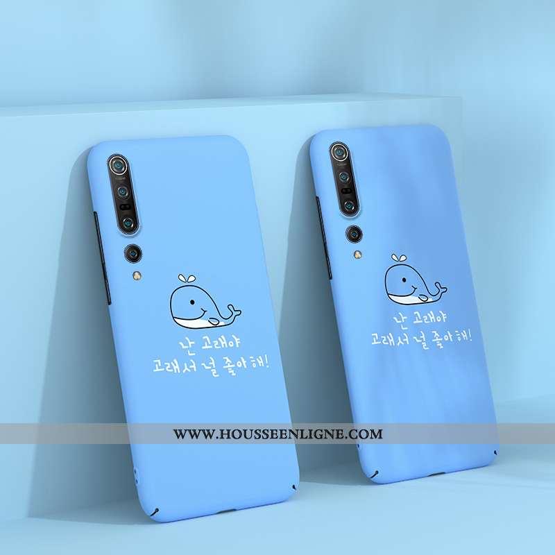 Coque Xiaomi Mi 10 Pro Délavé En Daim Personnalité Dessin Animé Vent Difficile Bleu Étui