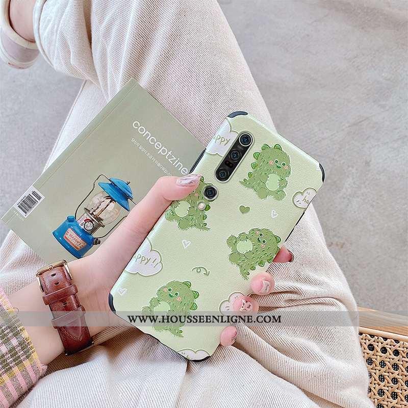 Coque Xiaomi Mi 10 Pro Fluide Doux Silicone Charmant Dragon Bovins Dessin Animé Verte
