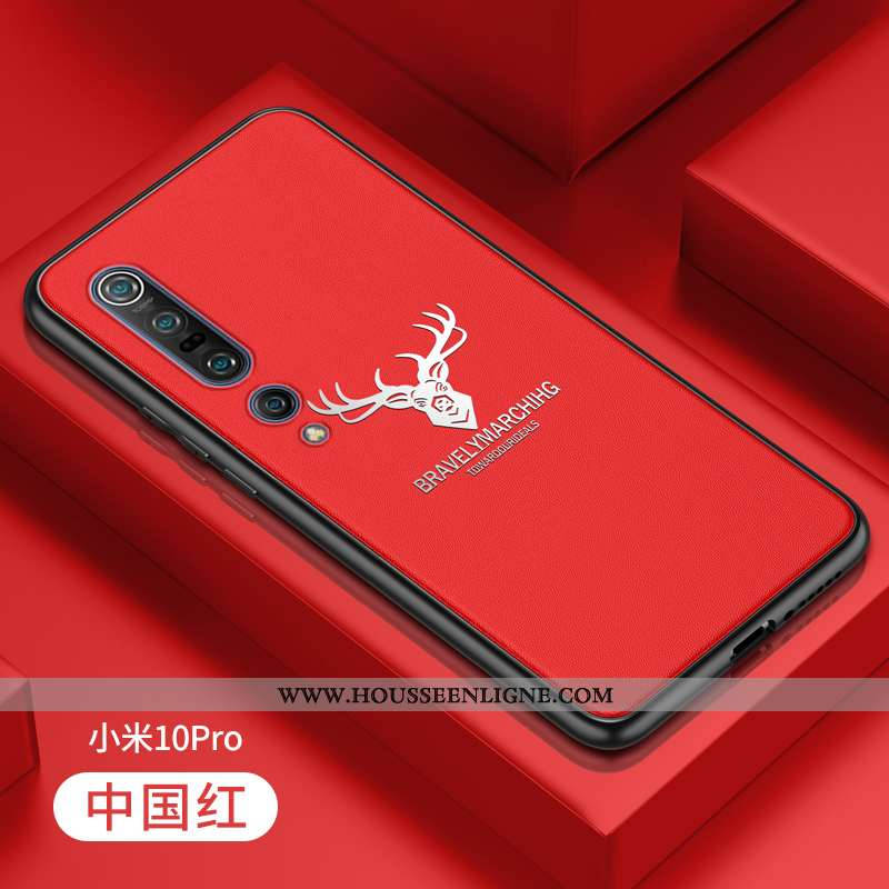 Coque Xiaomi Mi 10 Pro Légère Cuir Jeunesse Silicone Étui Ultra Fluide Doux Rouge