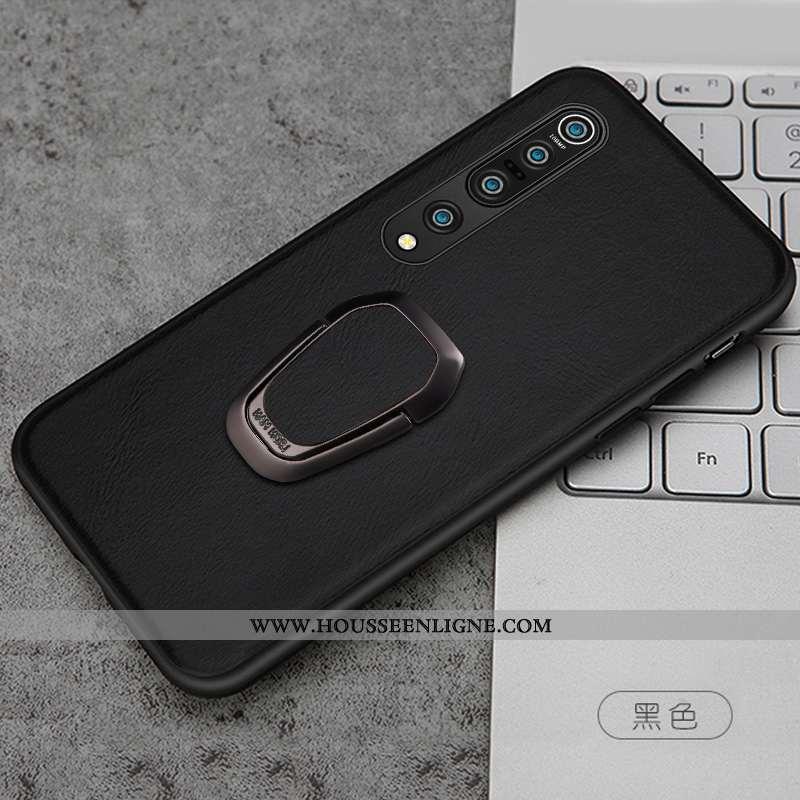 Coque Xiaomi Mi 10 Pro Protection Personnalité Cuir Véritable Étui Petit Noir Cuir