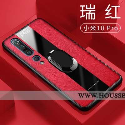 Coque Xiaomi Mi 10 Pro Silicone Cuir Incassable Téléphone Portable Anneau Rouge