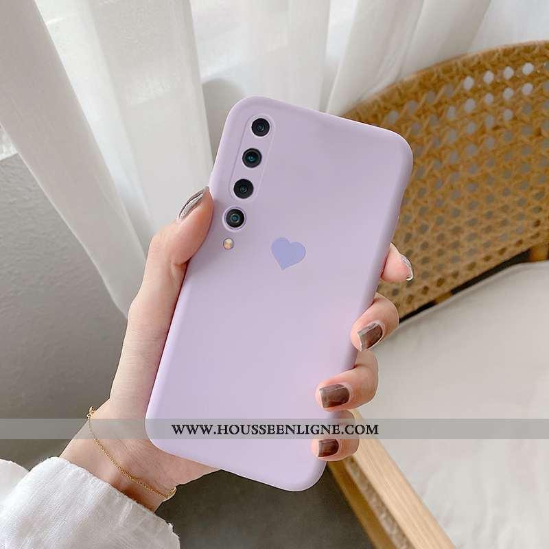 Coque Xiaomi Mi 10 Protection Tendance Étui Amour Fluide Doux Légères Simple Violet