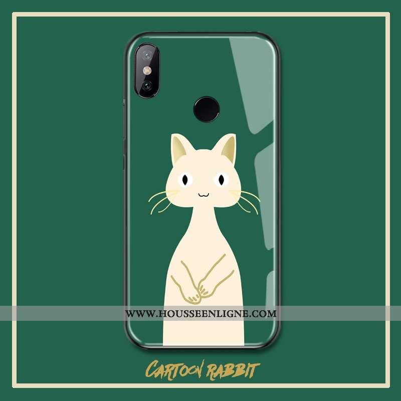 Coque Xiaomi Mi 8 Charmant Verre Téléphone Portable Petit Rouge Vert Verte