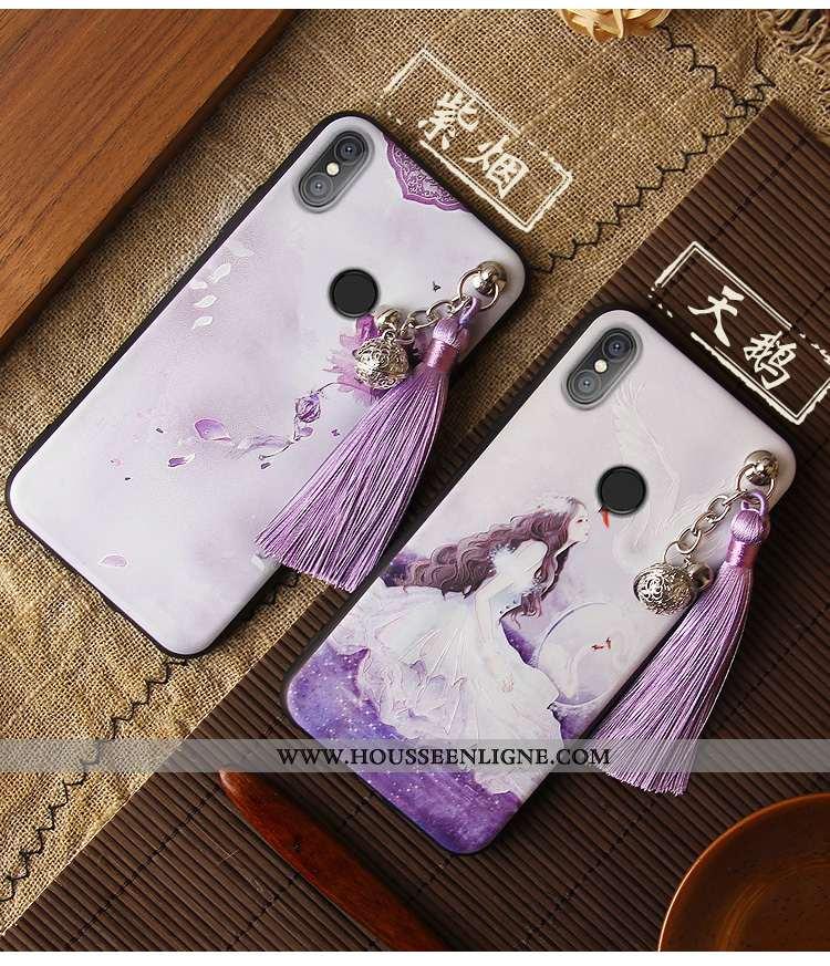 Coque Xiaomi Mi 8 Gaufrage Vintage Étui Violet Ornements Suspendus Net Rouge Style Chinois