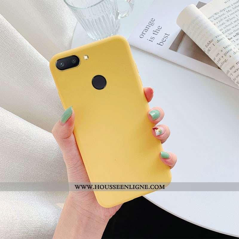 Coque Xiaomi Mi 8 Lite Cuir Étui Téléphone Portable Jaune Couleur Unie Jeunesse Petit