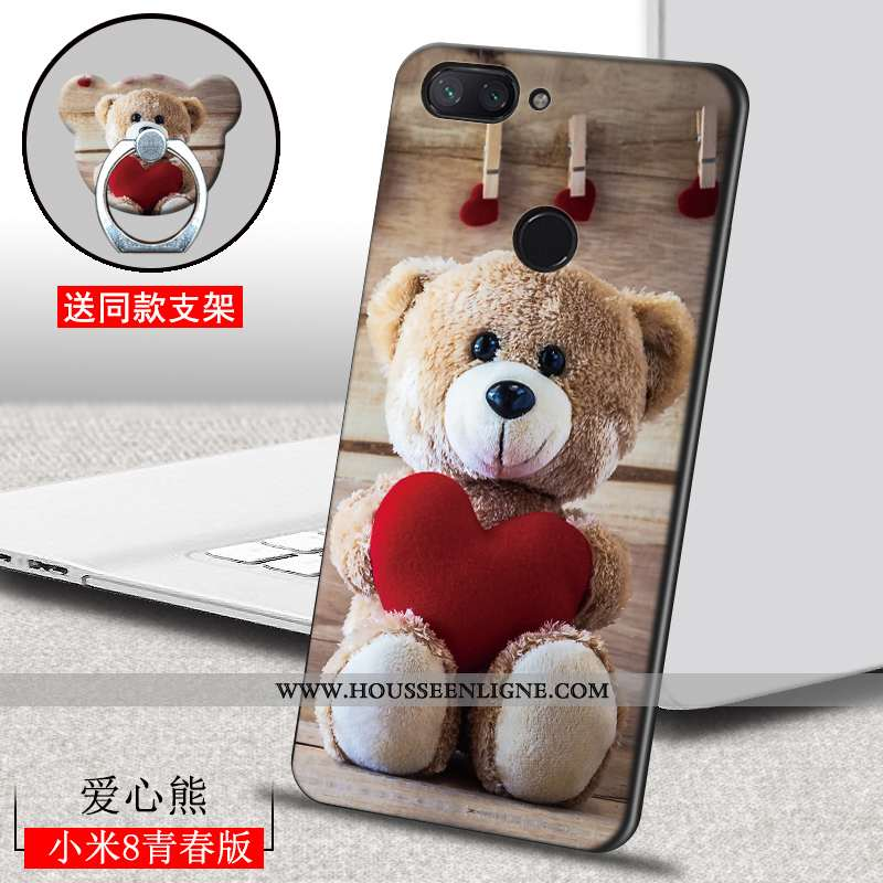 Coque Xiaomi Mi 8 Lite Délavé En Daim Personnalité Incassable Ultra Étui Peinture Marron