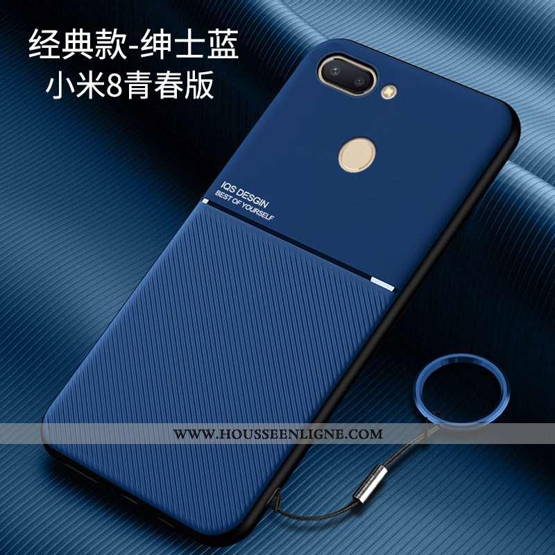 Coque Xiaomi Mi 8 Lite Modèle Fleurie Fluide Doux Personnalité Petit Jeunesse Protection Ultra Bleu