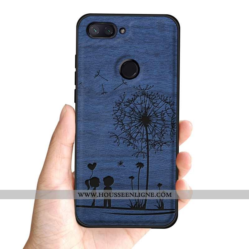 Coque Xiaomi Mi 8 Lite Tendance Cuir Incassable Silicone Tout Compris Tempérer Difficile Bleu