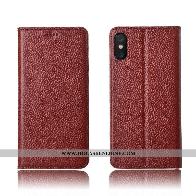 Coque Xiaomi Mi 8 Pro Cuir Véritable Cuir Marron Silicone Petit Téléphone Portable Tout Compris