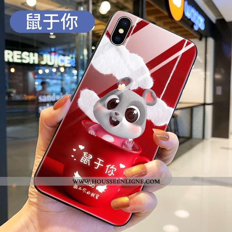 Coque Xiaomi Mi 8 Pro Transparent Dessin Animé Rouge Téléphone Portable Protection Verre