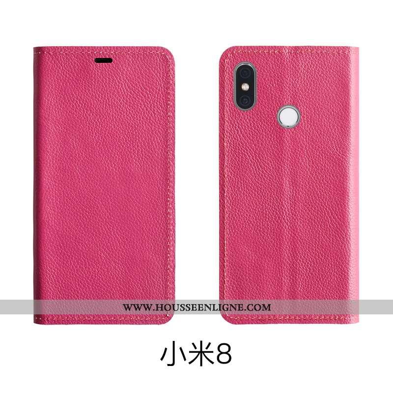 Coque Xiaomi Mi 8 Protection Cuir Véritable Étui Rouge Modèle Fleurie Housse Rose