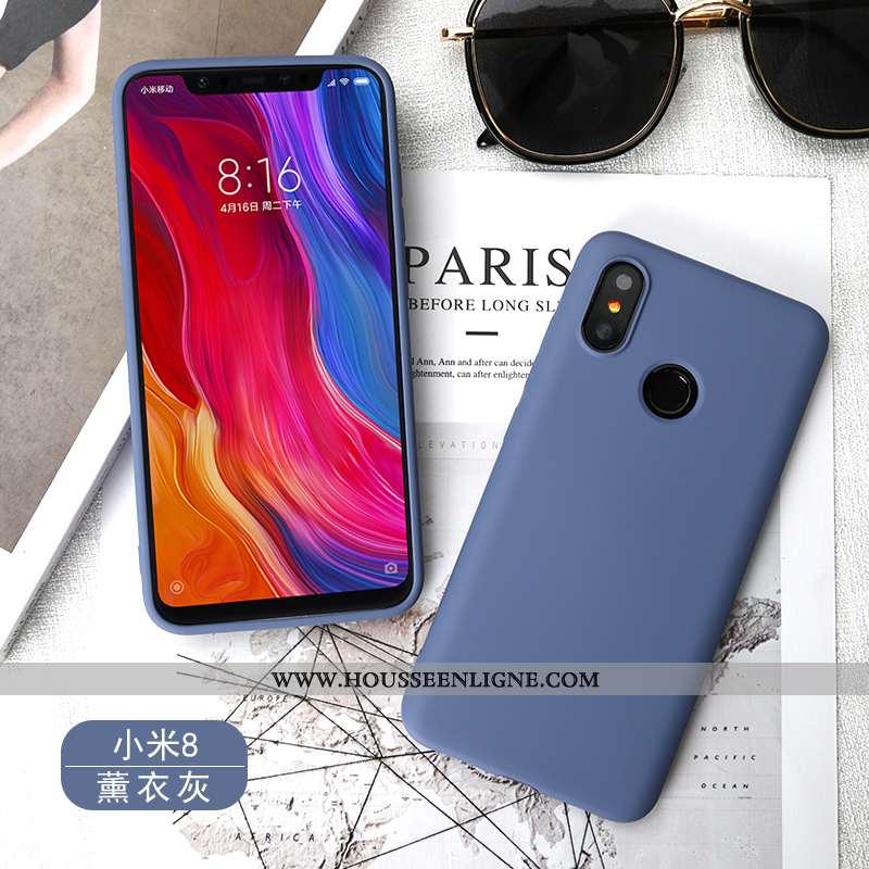 Coque Xiaomi Mi 8 Silicone Fluide Doux Rouge Petit Bleu Téléphone Portable