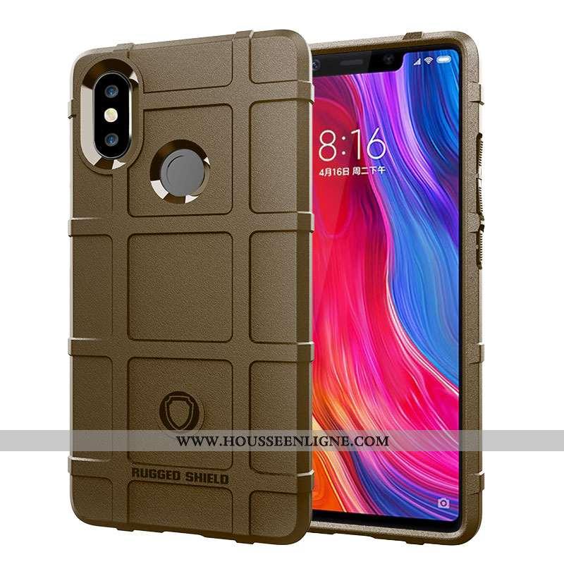 Coque Xiaomi Mi 8 Tendance Fluide Doux Tout Compris Protection Étui Petit Téléphone Portable Marron