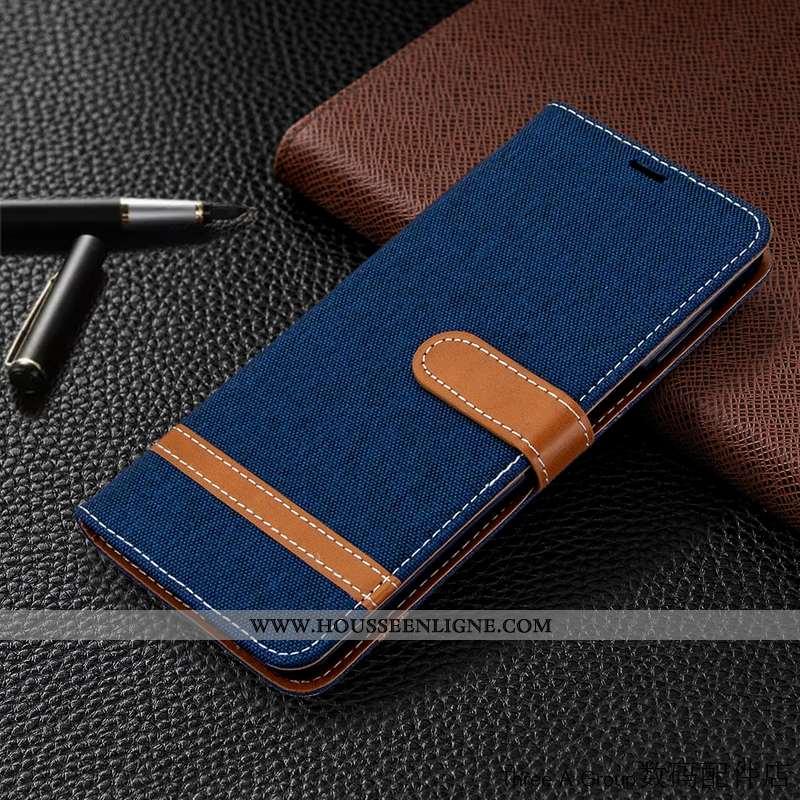 Coque Xiaomi Mi 9 Cuir En Denim Bleu Marin Business Rouge Téléphone Portable Bleu Foncé