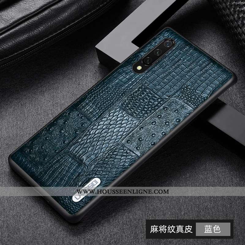 Coque Xiaomi Mi 9 Lite Protection Cuir Véritable Tout Compris Bleu Petit Cuir Incassable