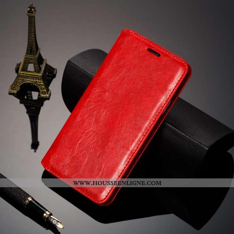 Coque Xiaomi Mi 9 Protection Cuir Véritable Simple Petit Tendance Business Carte Rouge