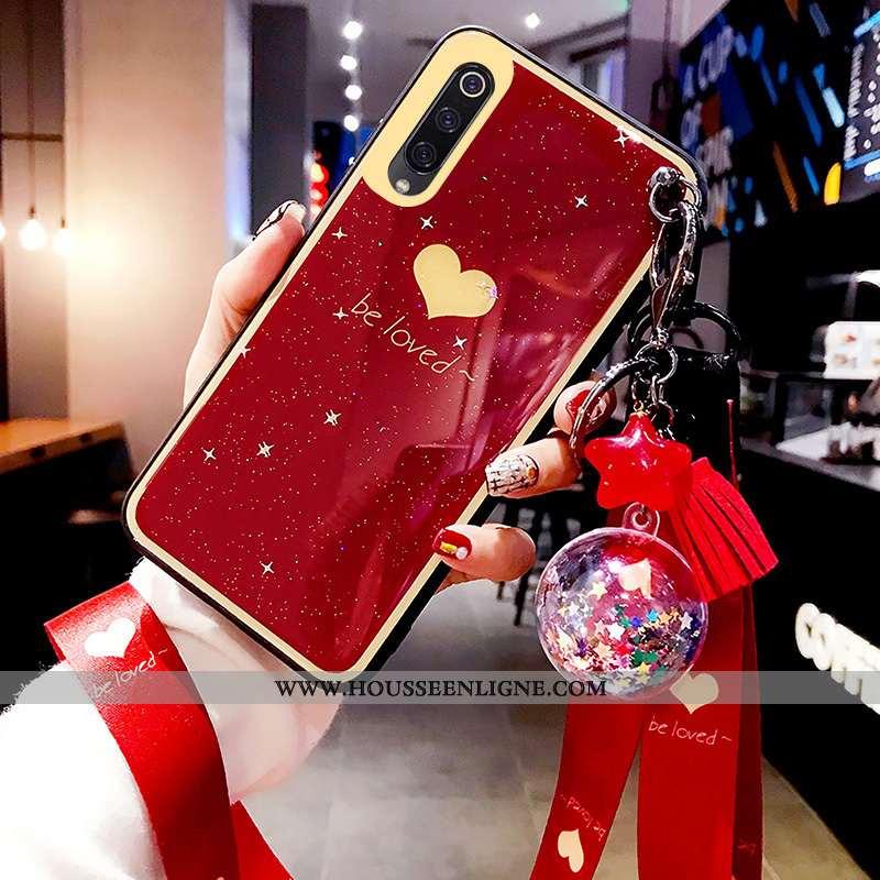 Coque Xiaomi Mi 9 Tendance Modèle Fleurie Rouge Net Rouge Incassable Vin Rouge Silicone Bordeaux