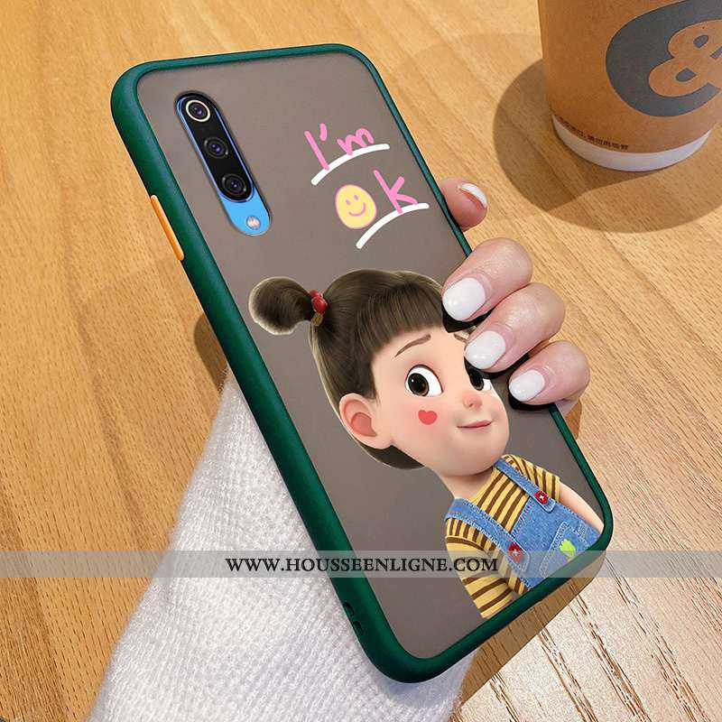 Coque Xiaomi Mi 9 Transparent Délavé En Daim Mode Amoureux Difficile Tout Compris Vert Verte