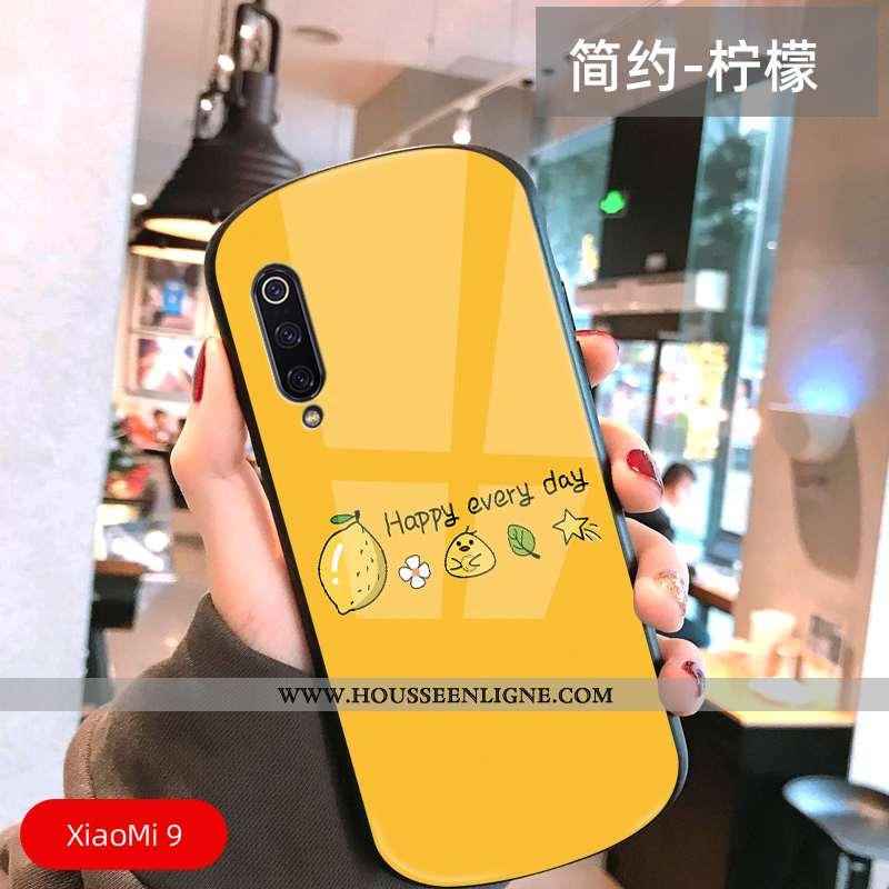 Coque Xiaomi Mi 9 Ultra Légère Délavé En Daim Petit Simple Tout Compris Arc Jaune