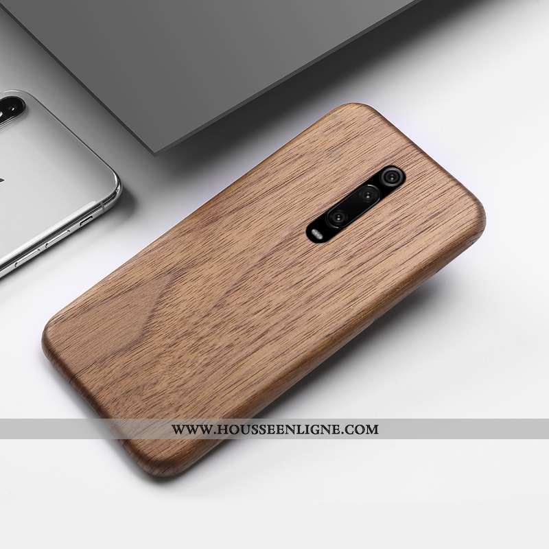 Coque Xiaomi Mi 9t Créatif En Bois Incassable Téléphone Portable Rouge Étui Marron