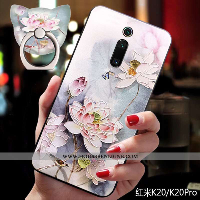 Coque Xiaomi Mi 9t Pro Fluide Doux Silicone Support Style Chinois Rose Nouveau