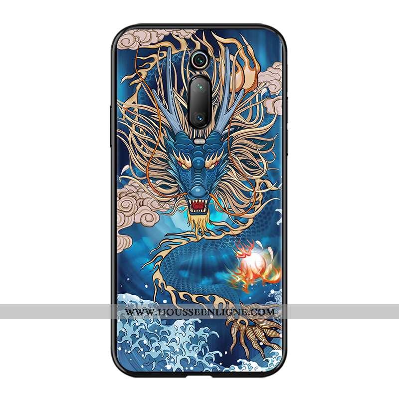 Coque Xiaomi Mi 9t Protection Gaufrage Tendance Rouge Style Chinois Bleu Étui