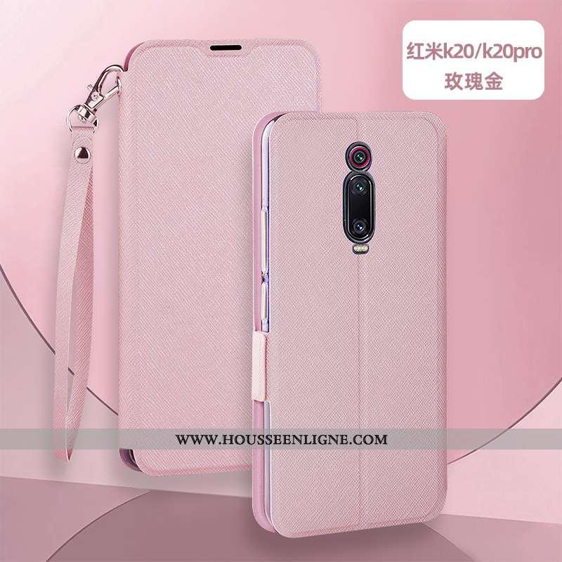 Coque Xiaomi Mi 9t Silicone Protection Rouge Étui Rose Cuir