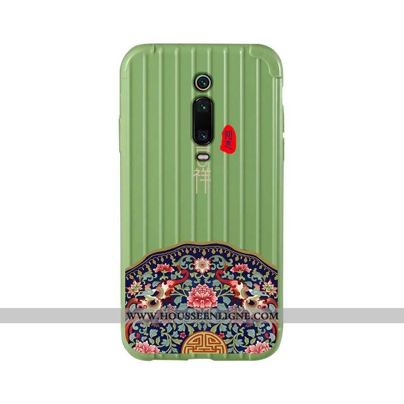 Coque Xiaomi Mi 9t Silicone Tendance Art Membrane Rouge Simple Verte