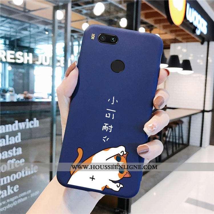 Coque Xiaomi Mi A1 Délavé En Daim Dessin Animé Tout Compris Amoureux Bleu Vin Rouge