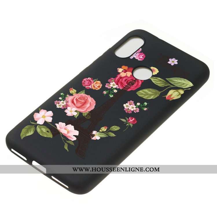 Coque Xiaomi Mi A2 Lite Fluide Doux Délavé En Daim Dessin Animé Tout Compris Étui Incassable Noir