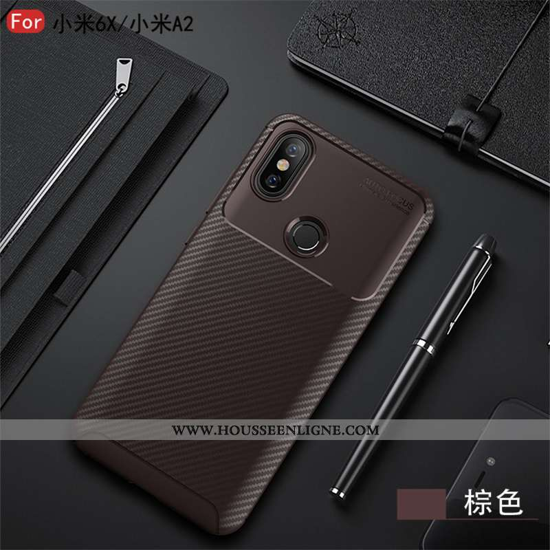 Coque Xiaomi Mi A2 Lite Fluide Doux Silicone Protection Fibre Incassable Étoile Marron