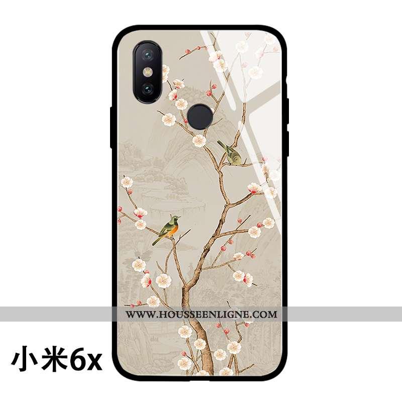 Coque Xiaomi Mi A2 Protection Verre Téléphone Portable Créatif Style Chinois Incassable Jaune