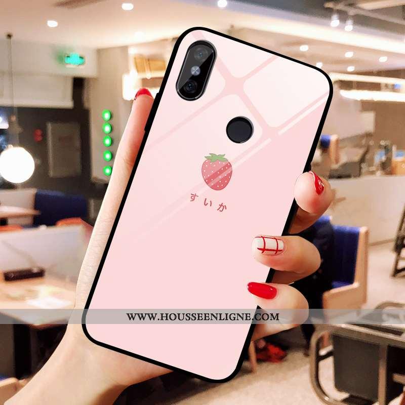 Coque Xiaomi Mi A2 Verre Créatif Fraise Petit Charmant Net Rouge Rose
