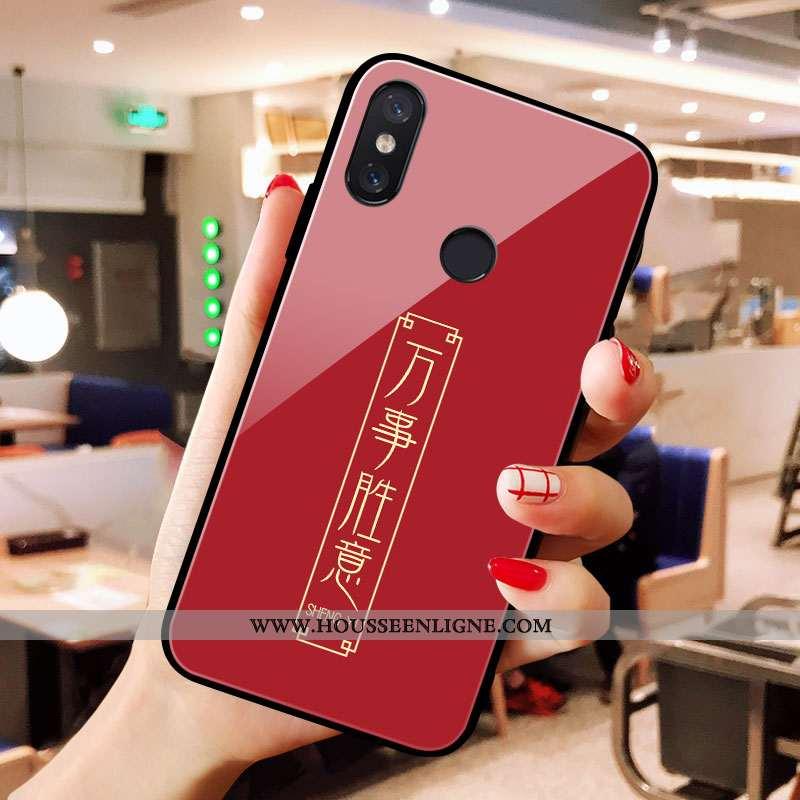 Coque Xiaomi Mi A2 Verre Petit Net Rouge Rouge Rat Téléphone Portable
