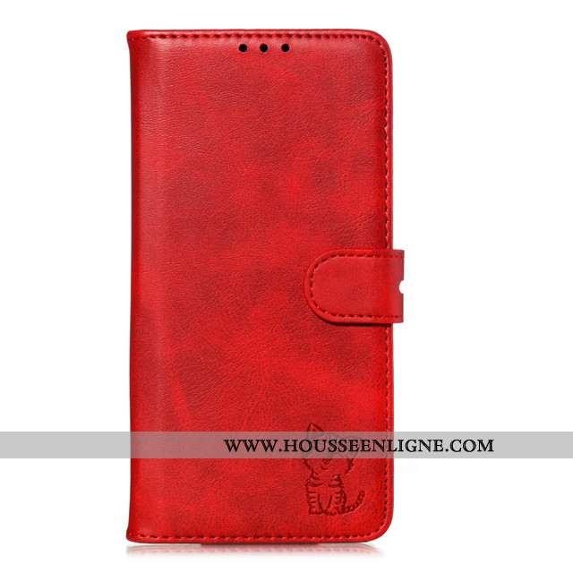 Coque Xiaomi Mi A3 Cuir Fluide Doux Tout Compris Étui Carte Incassable Rouge