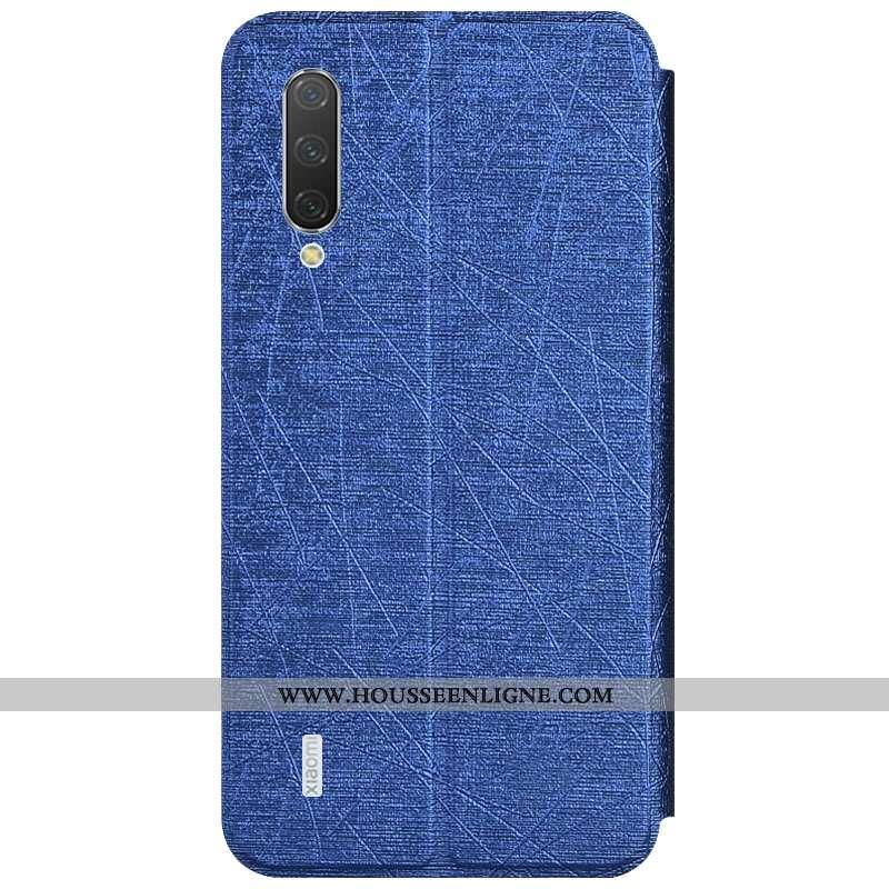 Coque Xiaomi Mi A3 Portefeuille Cuir Bleu Carte Petit Housse