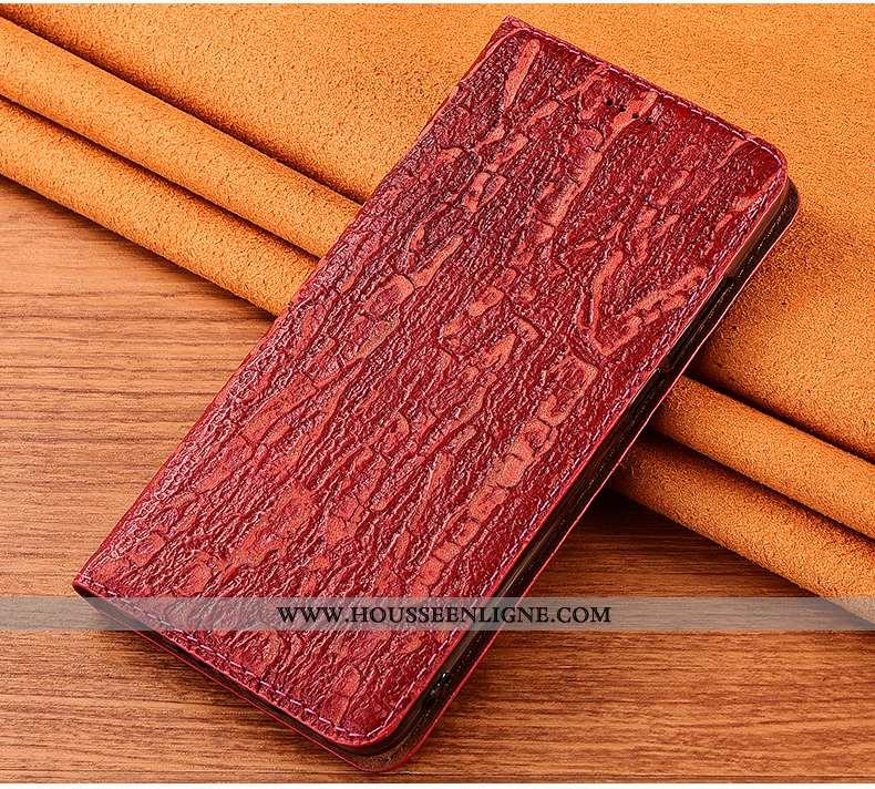 Coque Xiaomi Mi A3 Protection Cuir Véritable Silicone Nouveau Arbres Housse Rouge