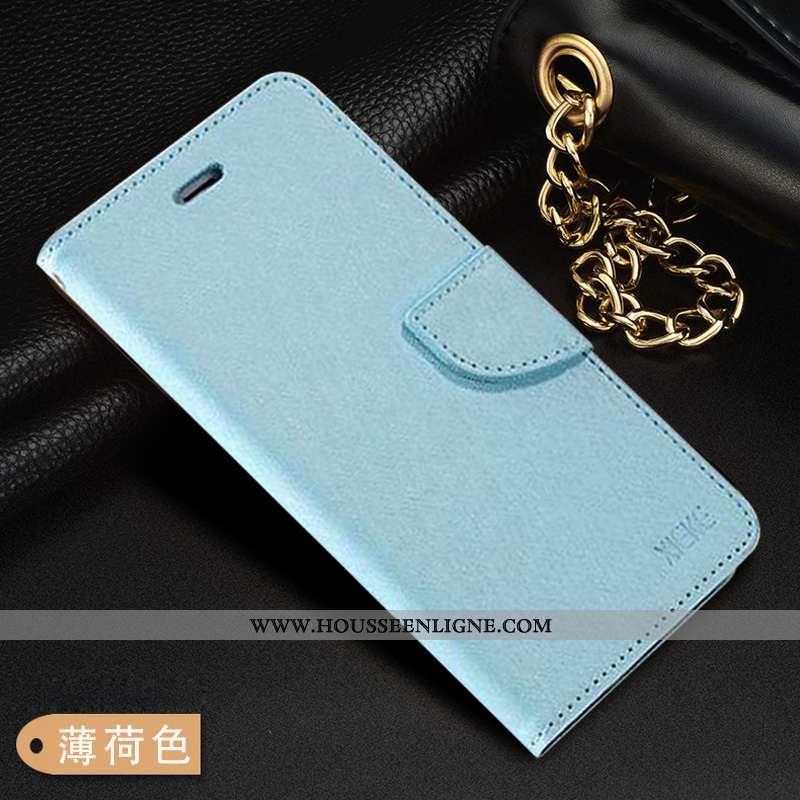 Coque Xiaomi Mi Max 3 Cuir Fluide Doux Bleu Housse Protection Téléphone Portable