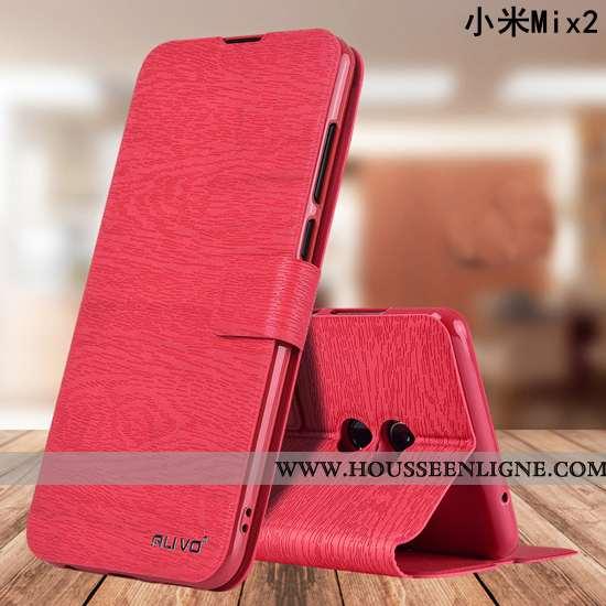 Coque Xiaomi Mi Mix 2 Protection Cuir Tout Compris Étui Incassable Silicone Rouge