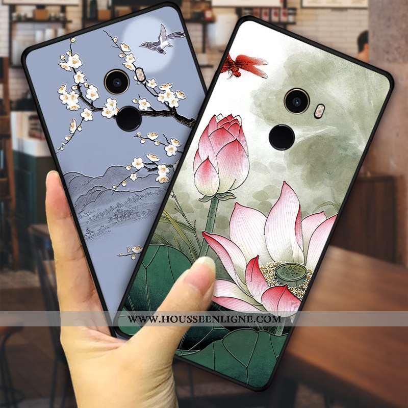 Coque Xiaomi Mi Mix 2 Protection Personnalité Vert Fleurs Vent Téléphone Portable Étui Verte