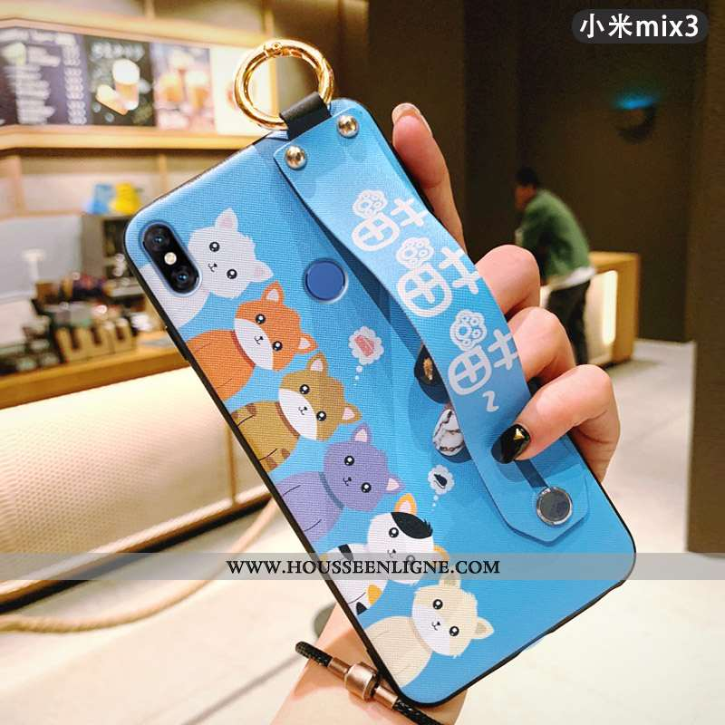 Coque Xiaomi Mi Mix 3 Protection Délavé En Daim Charmant Mignonne Légère Tendance Bleu