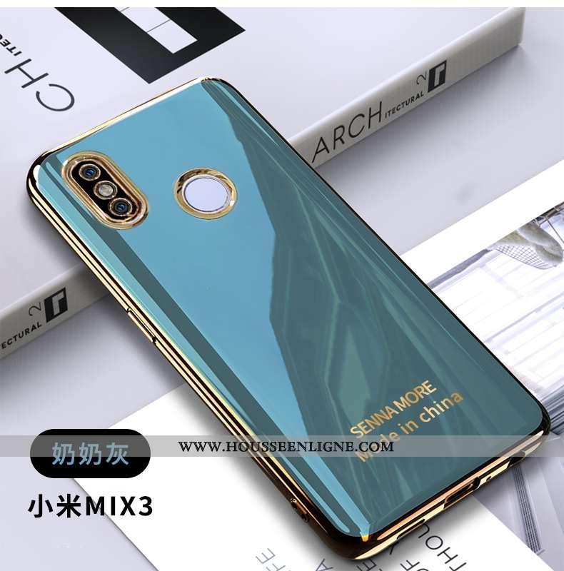 Coque Xiaomi Mi Mix 3 Tendance Fluide Doux Placage Simple Petit Téléphone Portable Bleu
